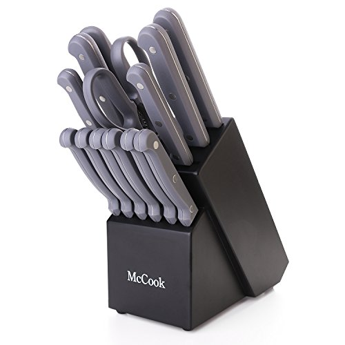 (McCook MC32 14 Pieces FDA Certified Knife Block Set with All-purpose Kitchen Shears, Sharpening Steel and Pine Wood Block)