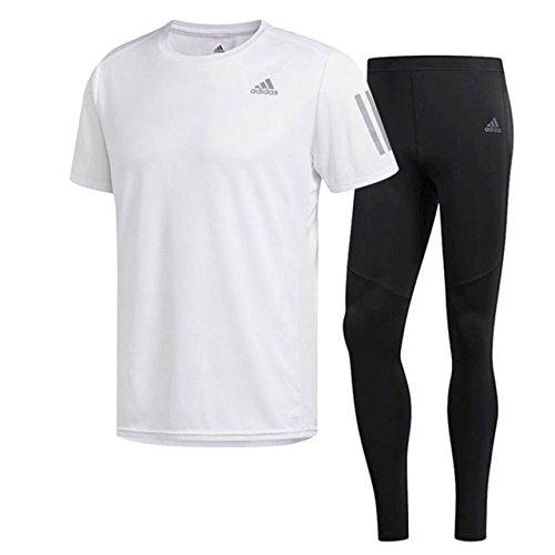 課すやけど推測するアディダス(adidas) RESPONSE 半袖Tシャツ & ロングタイツ上下セット(ホワイト/ブラック) EEO04-CF2102-ENN23-CF6250