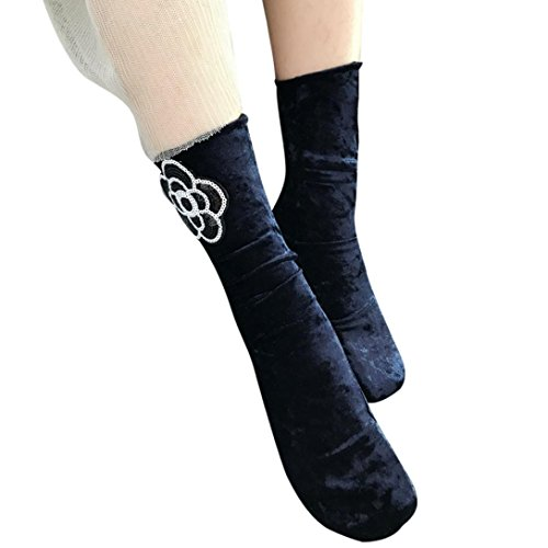 Scalloped Silk - Elevin(TM)Women Summer Thin Lace Transparent Elastic Short Silk Stockings Ankle Socks (Navy)