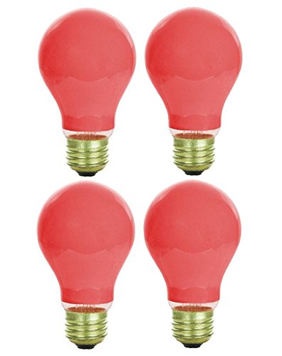 Pack Of 4 40 Watt A19 Ceramic Red Medium Base Standered Household Incandescent Red Colored Light Bulb