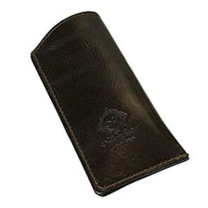 Natural Genuine Leather Handcrafted Soft Slip-In Eyeglass Case from Italy, Deep Brown Color
