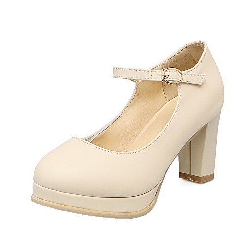 PU Round Toe Shoes Heels Pumps High Buckle WeiPoot Women's Beige Solid 39 EXRwqTn1