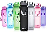 sport water bottle aqua - MAIGG Best Sports Water Bottle - 17oz - Eco Friendly & BPA-Free Plastic - Fast Water Flow, Flip Top, Opens With 1-Click - Reusable with Leak-proof Lid (Black)