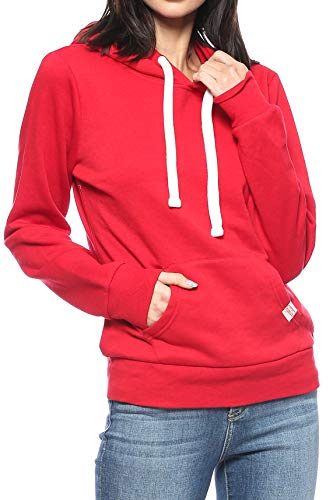 Urban Look Womens Active Long Sleeve Fleece Lined Fashion Hoodie Pullover with Plus Sizes (Small, A1 Solid Red) (Red Hoodie)