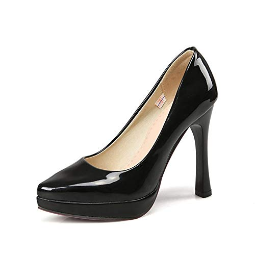 Black Heel Almond amp; Black Patent Comfort Spring White Summer Women'S Leather QOIQNLSN Shoes Heels Stiletto qxZ6vT