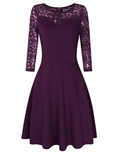 VeryAnn Women A Line Cocktail Dress Empire Lace Fit and Flare Dress (L, 3/4 Sleeve - Purple Guest Dress Wedding