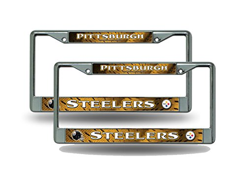 Rico Pittsburgh Steelers NFL Chrome Metal (2) License Plate Frame Set