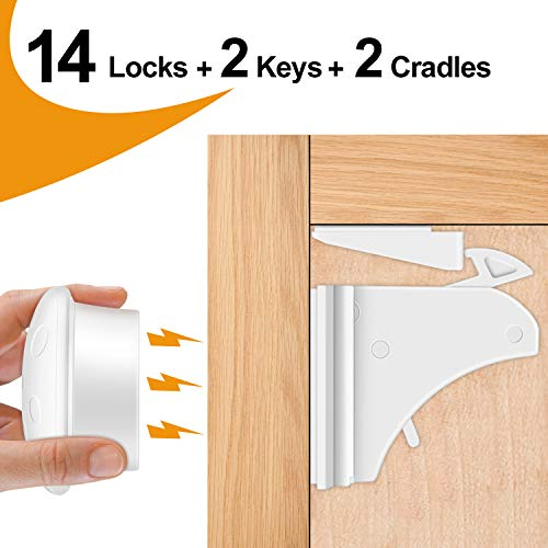 Cabinet Locks Child Safety Latches, OUSI 2020 upgraded 14+2+2 PACK Baby Proofing Cabinet Locks, Magnetic Cabinet Locks for Drawers and Cabinets – Adhesive Locks, No Tool or Drill