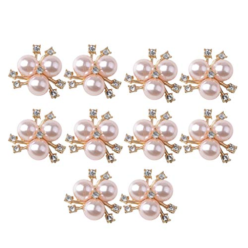 (SM SunniMix 10x Shiny Pearl Buttons for Clothing Decor, DIY Brooch, Hair Rope Bands, Doll Clothes, Gifts, Elegant Light Pink Rhinestone Embellishments (Flatback))