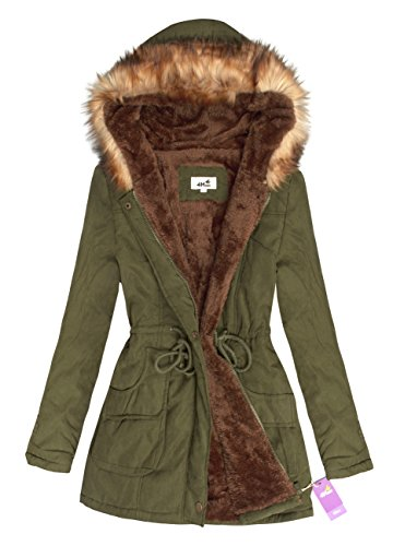 4How Women's Hooded Warm Coats Parkas with Fleece Lining Jackets Army Green