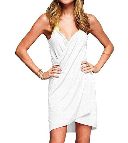 Womens Robe De Camouflage Fines Bretelles Beachwear Dos Nu Bikini Bander Blanc