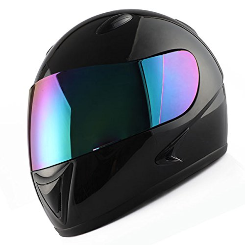 (1Storm Motorcycle Street Bike BMX MX Youth Kids Full Face Helmet Glossy Black)