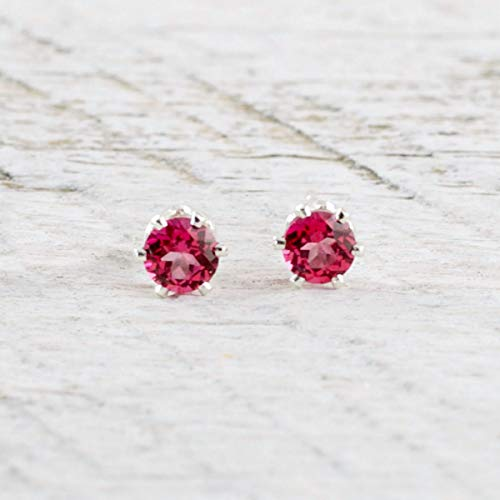 Tiny Pink Topaz Stud Earrings 4mm Sterling Silver Gift For Women