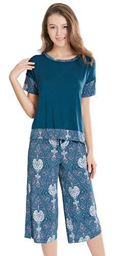 Summer Pajamas for Women - Stylish Print Ladies Pajama Set, Oversized Shirt Capri Lounge Pants, Bohemian Night Navy XL ()