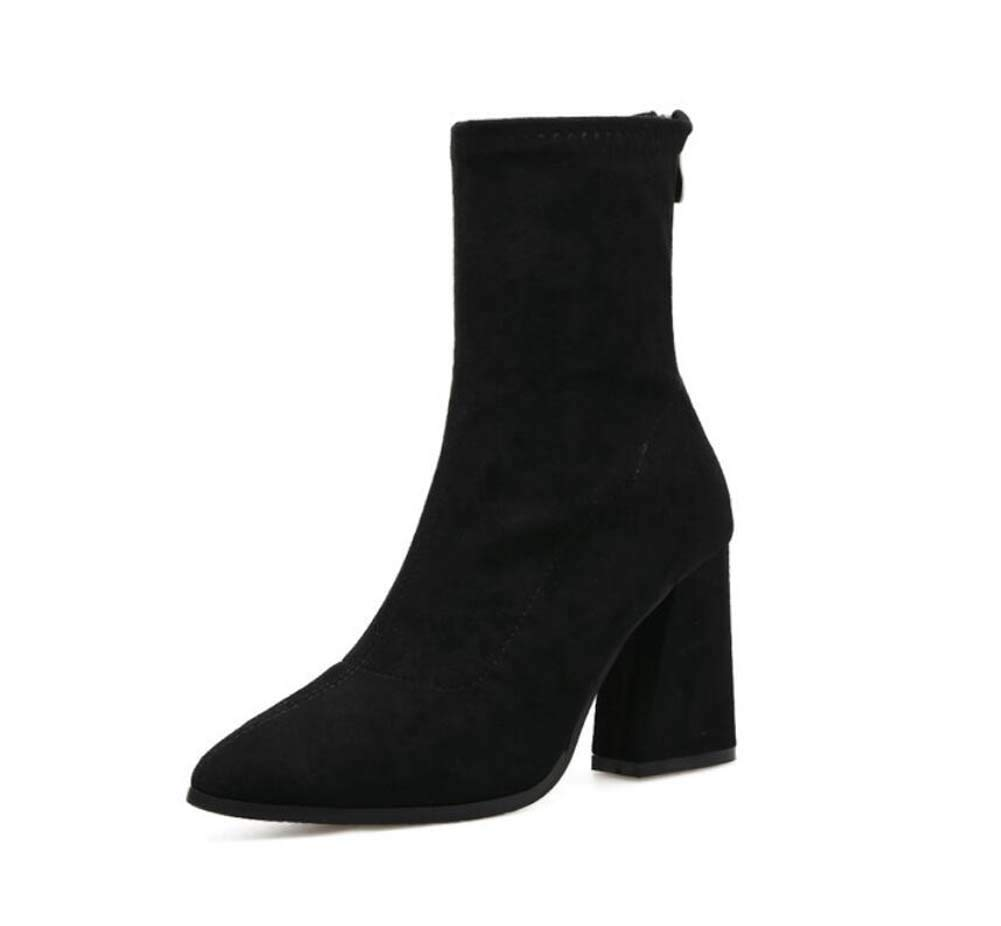 8.5Cm Chunkly Heel Ankle Bootie Martin Boots Pointed Toe Pure Color Zipper Dress Boots Court Shoes Eu Size 34-40,Black,34EU