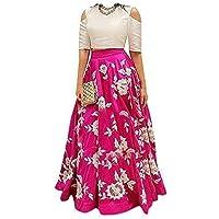 MADHAVE FASHION Girl's Velvet Semi-Stitched Lehanga Choli (5-6 Years,White & Pink)