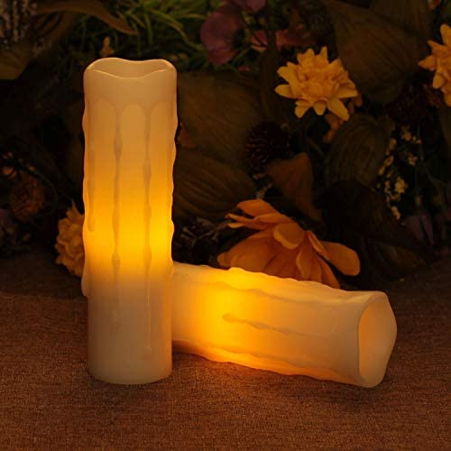 Flameless Led Candles, Battery Operated Wax Candle With Timer for Valentine s Day and Home Decor,1.75×6 Inches,White,Pack of 2