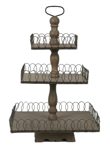 Creative Co Op Grey Wood 3 Tier