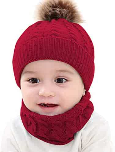 2PCS Toddler Baby Knit Hat Scarf Winter Warm Beanie Cap with Circle Loop  Scarf Neckwarmer 6256cf4c86f0