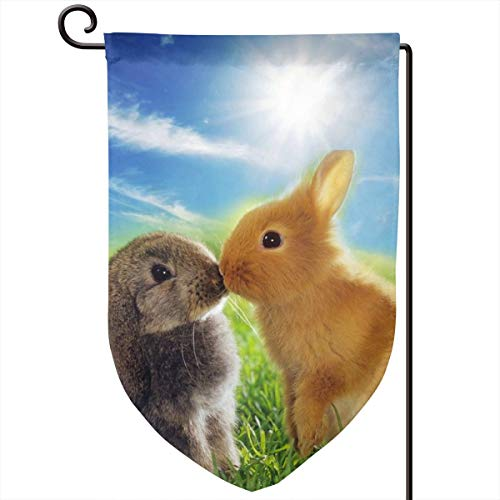 ACHOGI Rabbit Love Garden Flag Outdoor Yard Decorative Flags Double Sided Priting for All Seasons & Holidays- 12.5 X 8 in