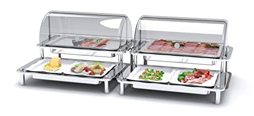 Smart Buffet Ware (Smart Buffet Ware 1A19431NSF, DOMINO Quad Cold Display, Acrylic Domed Covers, NSF Coated Aluminum Trays)