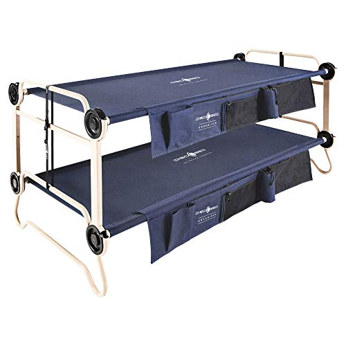 Stacking Cots - Disc-O-Bed XL Cam-O-Bunk Benchable Bunked Double Cot with Organizers, Navy Blue