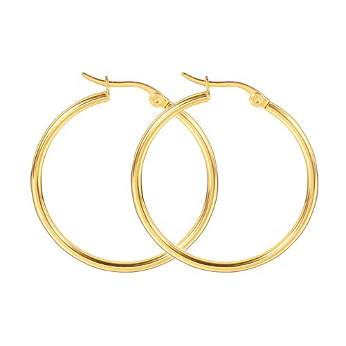 (Rounded Hoops Earrings Stainless Steel 2mm High Polished for Women Girls Gipsy earring(gold 20mm))