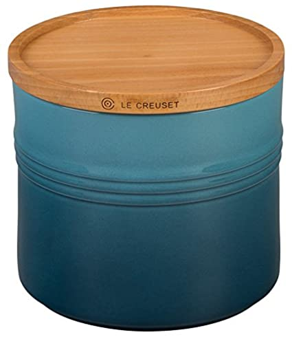 Le Creuset 5 Stoneware 1/2 Canister with Wood Lid, 1 1/2 quart, Black Le Creuset of America PG1518-1431