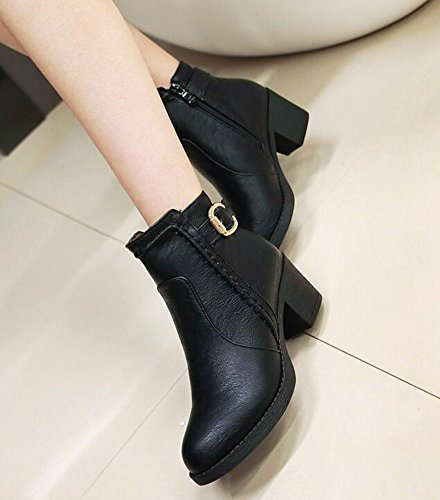 Zipper Casual Chunky Black IDIFU Side Ankle Heels Boots Mid Womens Buckle 0qpp5OFw