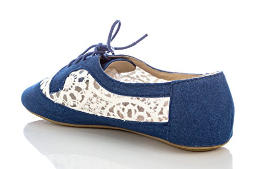 Delias Dames Lace-up Wingtip Oxford Ballet Platte Schoen Chambray