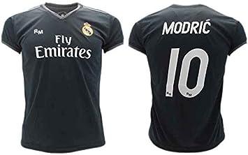 Camiseta de Fútbol Luka Modric 10 Real Madrid 2ª Equipación Negra Temporada 2018-2019 Replica Oficial con Licencia Blister - Todos Los Tamaños NIÑO y Adulto: Amazon.es: Deportes y aire libre