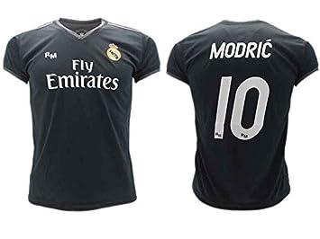 Camiseta de Fútbol Luka Modric 10 Real Madrid 2ª Equipación Negra Temporada 2018-2019 Replica Oficial con Licencia Blister - Todos Los Tamaños NIÑO y ...