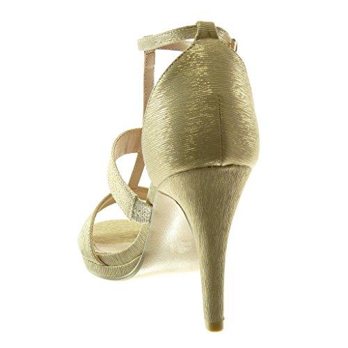 Moda Donna Cinturino con Tacco Decollete Oro Tacco Stiletto Alto 9 Stiletto Lucide Paillette cm 5 Scarpe Angkorly Sandali Tanga Bxg8A