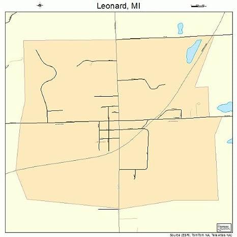 Leonard Michigan Map.Amazon Com Large Street Road Map Of Leonard Michigan Mi