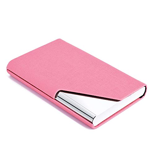 MaxGear Business Card Holder Luxury PU Leather & Stainless Steel Business Card Case, Business Name Card Holder for Men & Women - Keep Your Business Cards Clean (Pink)