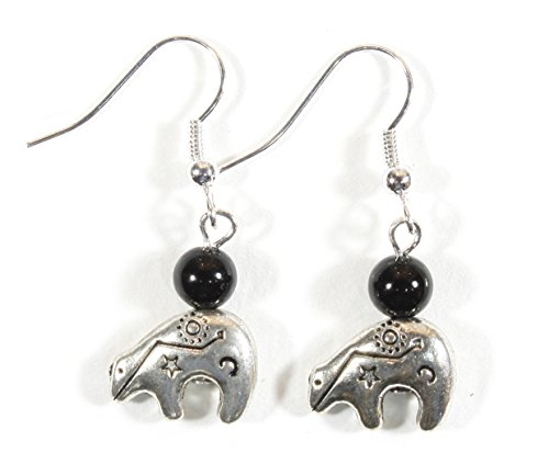 Pewter Dangle Pierced Earrings - Zuni Talisman, Pewter Zuni Bear Earrings, Dangle 1.5 Inches