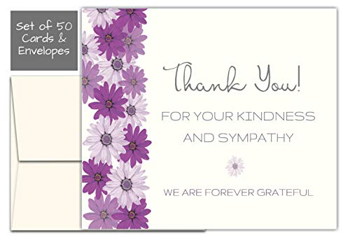 50 Celebration of life Floral Flower Funeral thank you cards with envelopes Sympathy acknowledgment Thank you Cards -