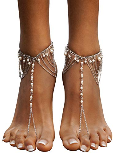 Bienvenu 2 Pcs Anklet Foot Chain Tassel Barefoot Sandals Beach Wedding Jewelry,White_Style 5 by Bienvenu