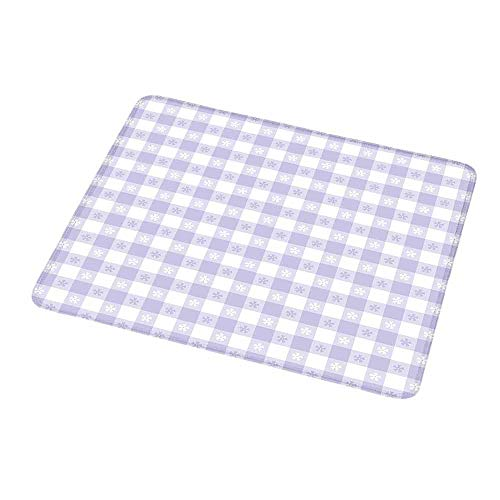 Personalized Custom Gaming Mouse Pad Lavender,Pastel Colored Classic Gingham Check Pattern with Delicate Small Blossoms,Lavander White,Personalized Design Non-Slip Rubber Mouse pad 9.8