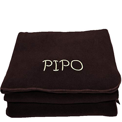 BgEurope Personalized Custom Embroidered Polar Sofa Bed Travel Fleece Blanket - Name - Brown