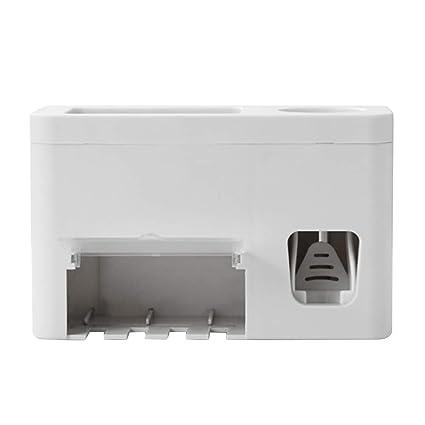 Yardwe Dispensador de Pasta de Dientes Automático y Portacepillos de Dientes Práctico Set de Baño Familiar