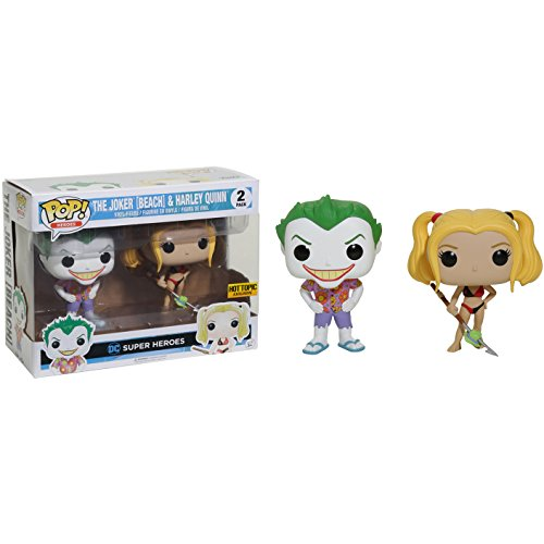 Funko Harley Quinn & The Joker [Beach] (Hot Topic Exclusive) POP! Heroes x DC Universe Vinyl Figure + 1 Free Official DC Trading Card Bundle (14238)