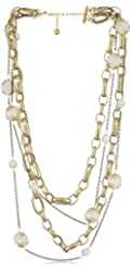 "Devon Leigh ""Statement Necklaces"" Multi-Tiered Bronze and 24k Gold Overlay Cracked Quartz Necklace"