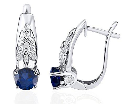 (Rare Earth Diamond Jewellery 1.00 Ct. Round Shape Blue Sapphire Gemstone 925 Sterling Silver Hoop Earrings For Women)