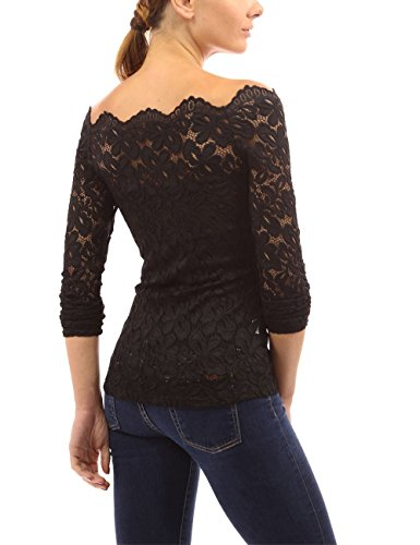 Hombro Negro Top Camisa encaje Encaje Manga con Tops floral Blusa Aky desnudo Mujer Camisa sexy larga qcFwFAgzv