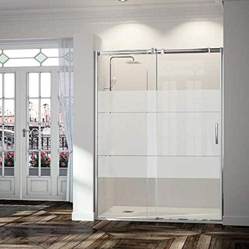 Frente de ducha TRIANA, puerta corredera CRISTAL DECORADO 144-152cm: Amazon.es: Bricolaje y herramientas