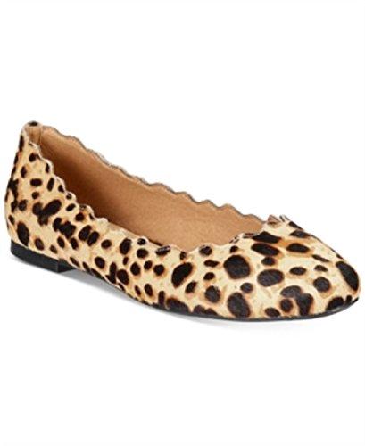 Athena Alexander Womens Taffy Closed Toe Ballet Flats, Leopard Fur, Size 7.0