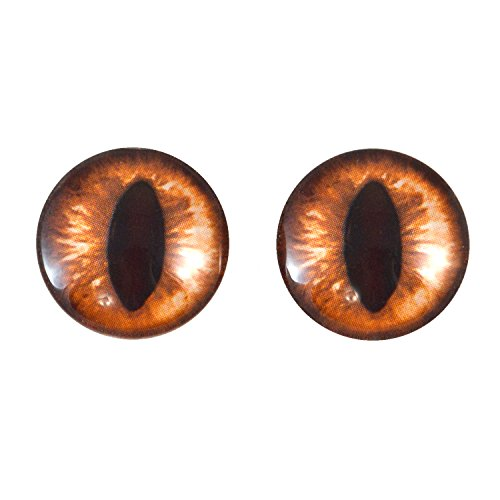 - 20mm Amber Cat Glass Eyes Fantasy Taxidermy Art Doll Making or Jewelry Crafts Set of 2