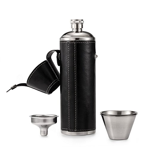 GENNISSY 10 OZ Black Bucket Hip Flask - PU Leather Stainless Steel Men Flasks for Liquor with Funnel and Cups (Best Liquor For Men)