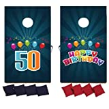 VictoryStore Cornhole Games Custom Birthday Bag Toss Game Custom Birthday Cornhole 8 Bags Included (Blue Stripes with Balloons)